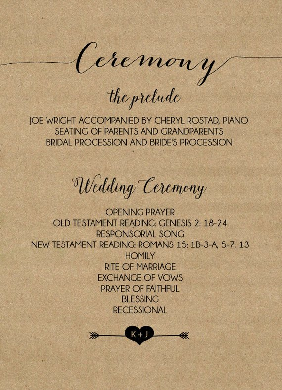 Kraft Paper Wedding Programs Double Sided 27