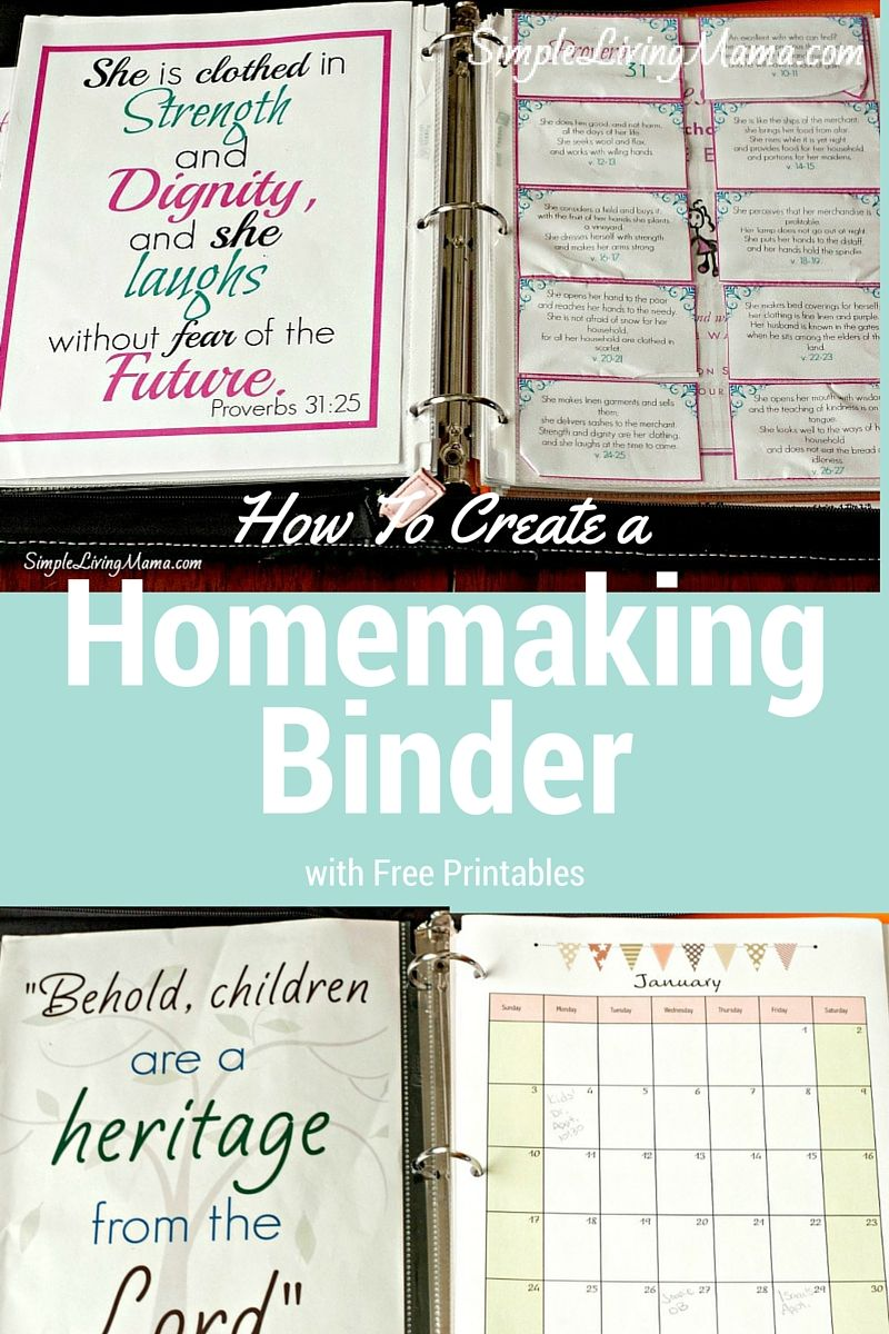 How To Create a Homemaking Binder with Free Printables | Pinterest ...