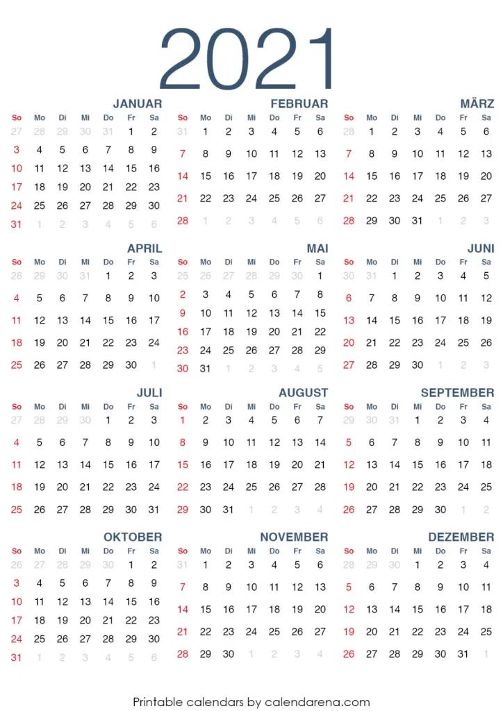 Kalender 2021 Thüringen Mit Kalenderwochen : Ferien ...