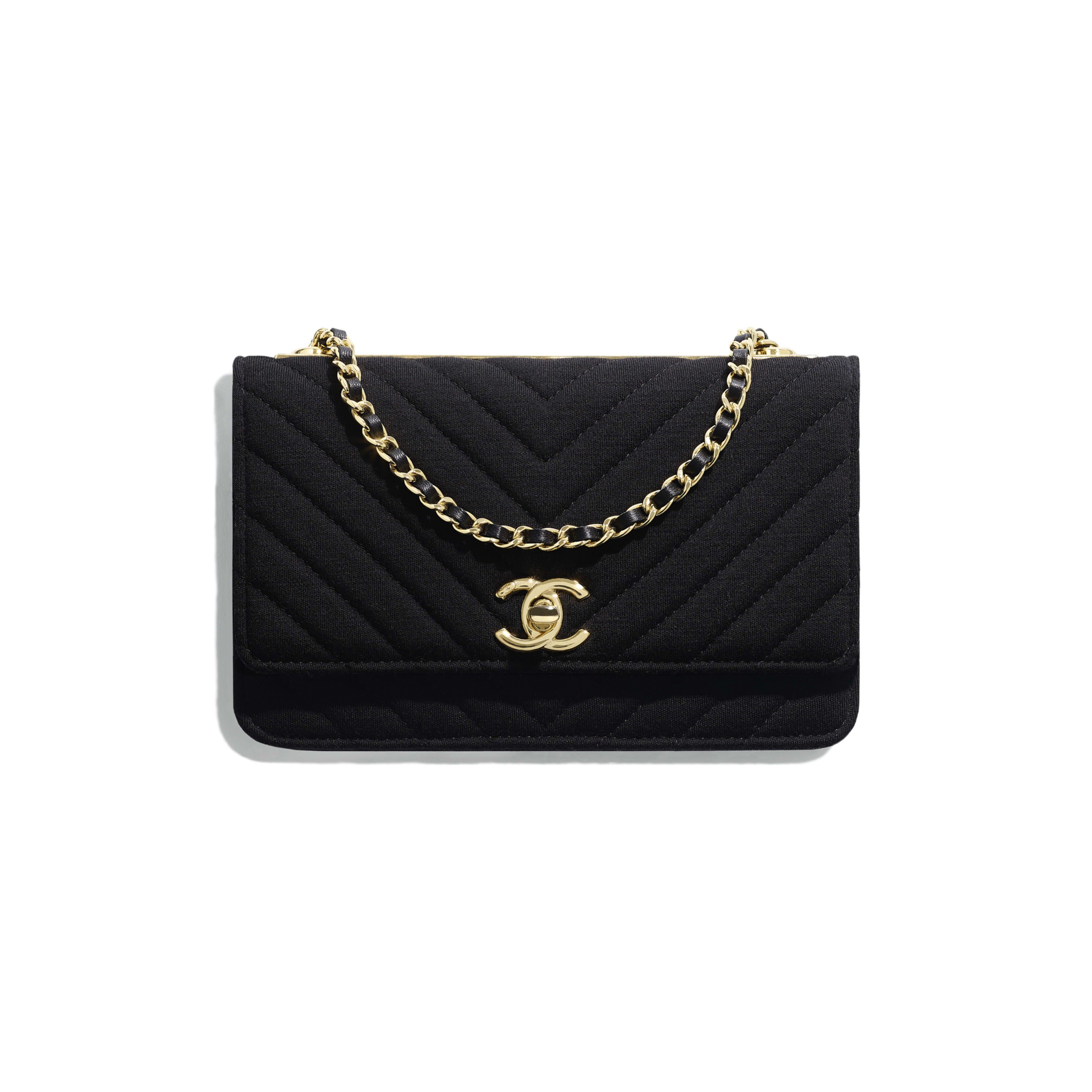 3ba45627bc449 Wallet on Chain - Black - Jersey & Gold-Tone Metal - Default view - see  full sized version