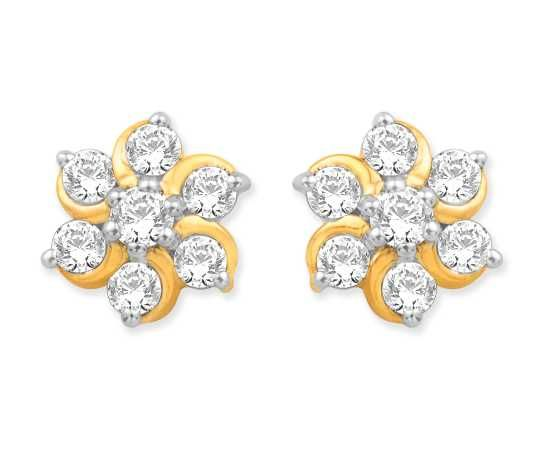 beautiful yellow gold real diamond earrings indian. Black Bedroom Furniture Sets. Home Design Ideas