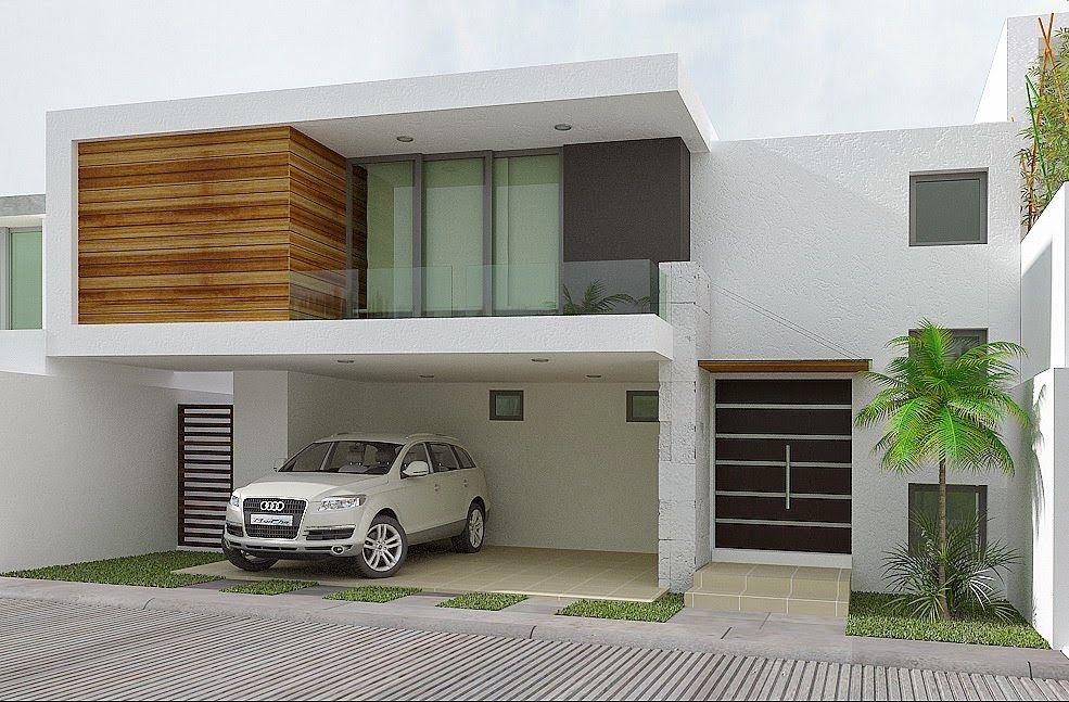 Elegante y distinguida fachada minimalista que pertenece - Pintura exterior fachada ...