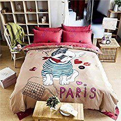 Maxyoyo Cotton Cartoon Dog Duvet Cover Setcute Puppy Bedding Set
