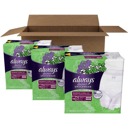 Always Discreet Incontinence Underwear, Extra-Large Maximum Absorbency, (Choose your Count)