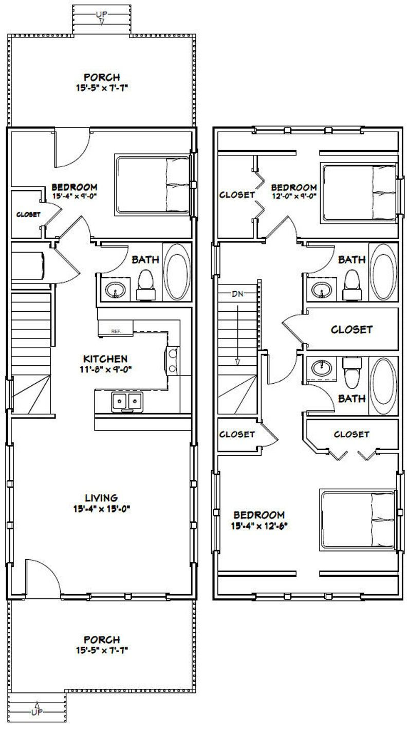 16x40 House 1 193 sq ft PDF Floor Plan Instant Download Model 1A