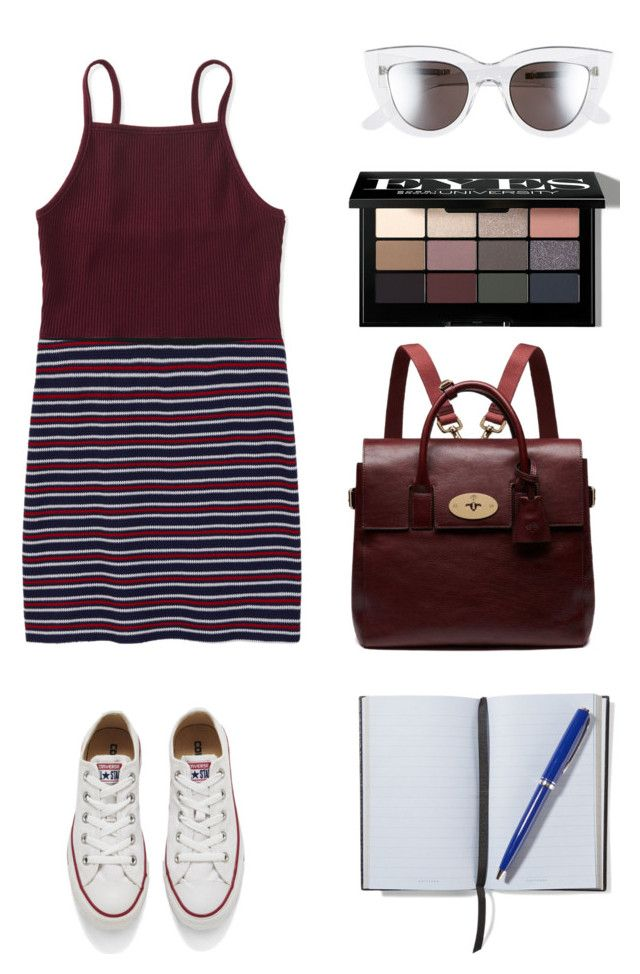 """""""Back to school"""" by glamjournal ❤ liked on Polyvore featuring Aéropostale, MANGO, Converse, Mulberry, BCBGMAXAZRIA, Bobbi Brown Cosmetics and Smythson"""