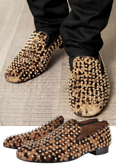 CHRISTIAN LOUBOUTIN ROLLERBOY LEOPARD PONY LOAFERS   Zapatos