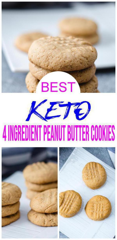 4 Ingredient Keto Cookies – BEST Low Carb Keto Peanut Butter Cookie Recipe – Easy NO Sugar – Gluten Free #ketocookierecipes