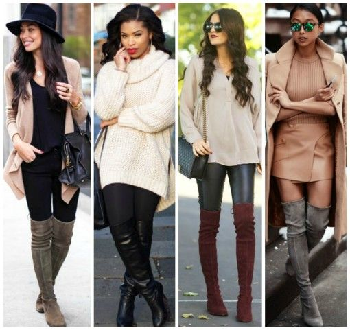 over the knee boot style and midi skirt | Fashion | Pinterest ...