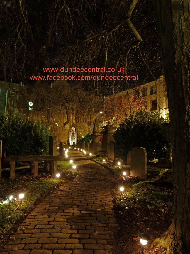 Dundee's Howff Graveyard illuminated for the Christmas Light Night Event - By Steve Page Lighting Hire Services, www.dundeecentral.co.uk