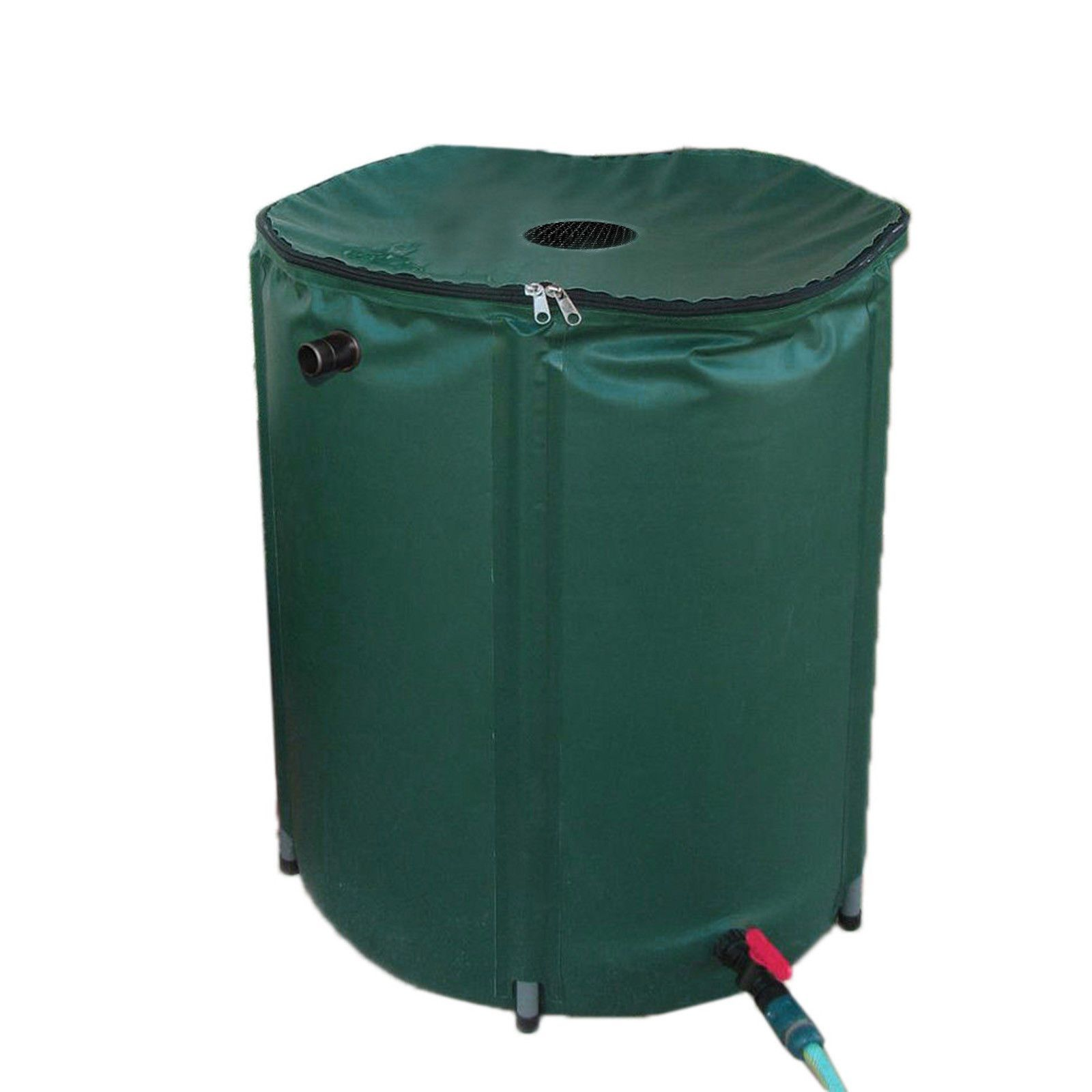 Height: 28inch; Diameter/ circumference: 24 inch Capacity: 50 Gallon; Material: PVC 600D Color: Green Package (Gross) size: 26 x 6 x 6 inch Weight net: 74 oz.; Weight gross: 76 oz. In this day and age