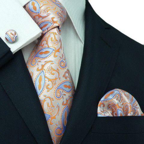 USA Classic Men/'s Silk Tie Blue Paisley Party Necktie Hanky LONGER 3.54/'/' *63/'/'