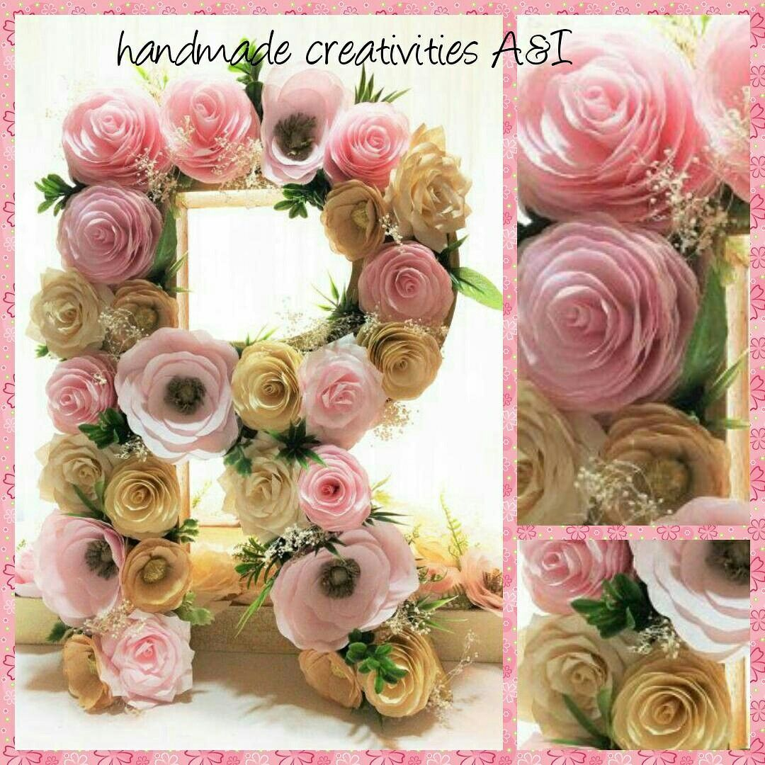 Letras decoradas com flores de papel