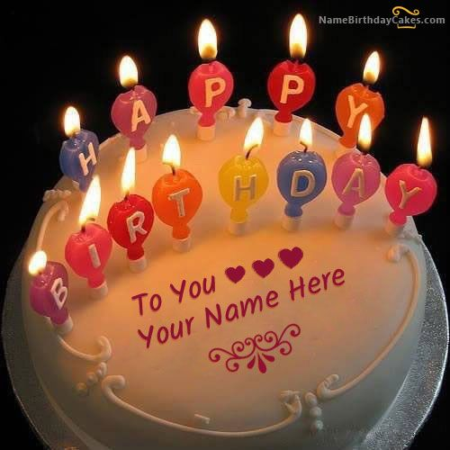 Write Name On Candles Happy Birthday Cake