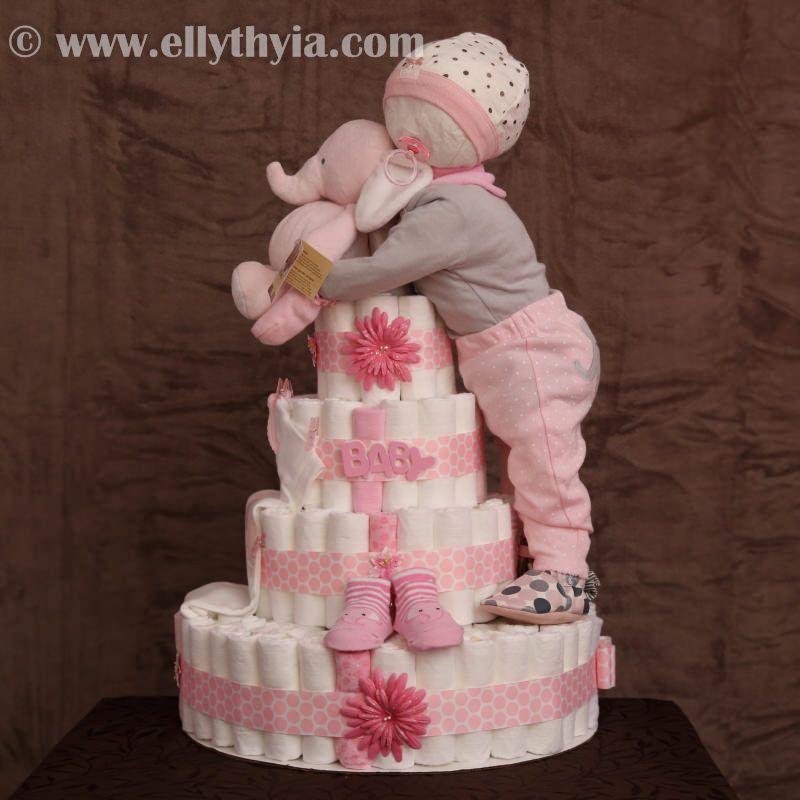 Sleeping Baby Diaper Cake Girl Elephant Diaper Cake 2g Baby
