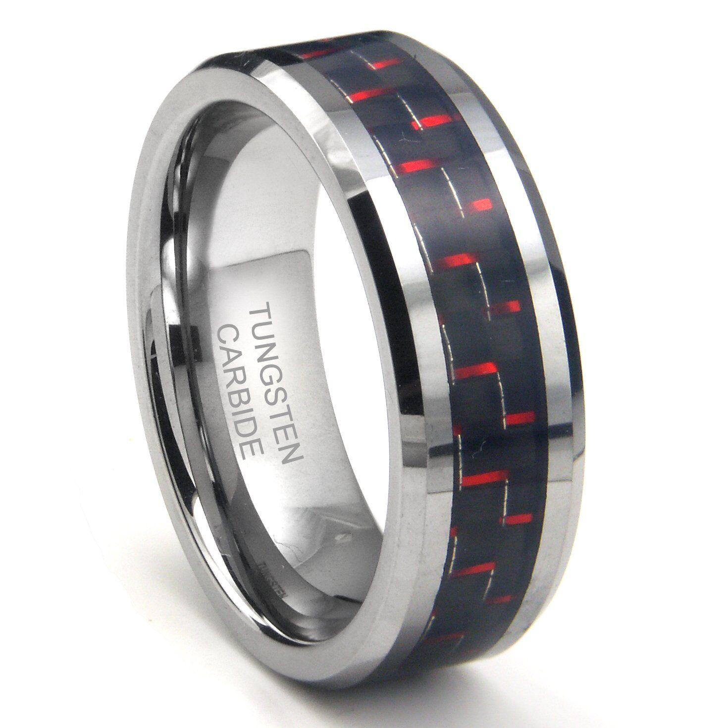 RED & BLACK Carbon Fiber Inlay 8MM Men's Tungsten Carbide