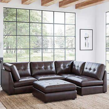 Best Calvin 5 Piece Top Grain Leather Modular Sectional Living 400 x 300