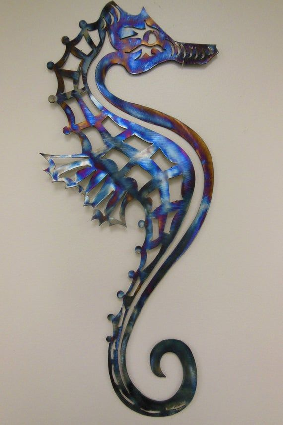 Seahorse Metal Art Wall Sculpture In Aluminum Or Stainless Etsy Metal Artwork Metal Art Metal Tree Wall Art