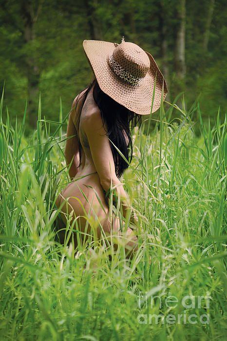 art grass girl field Fine nude in