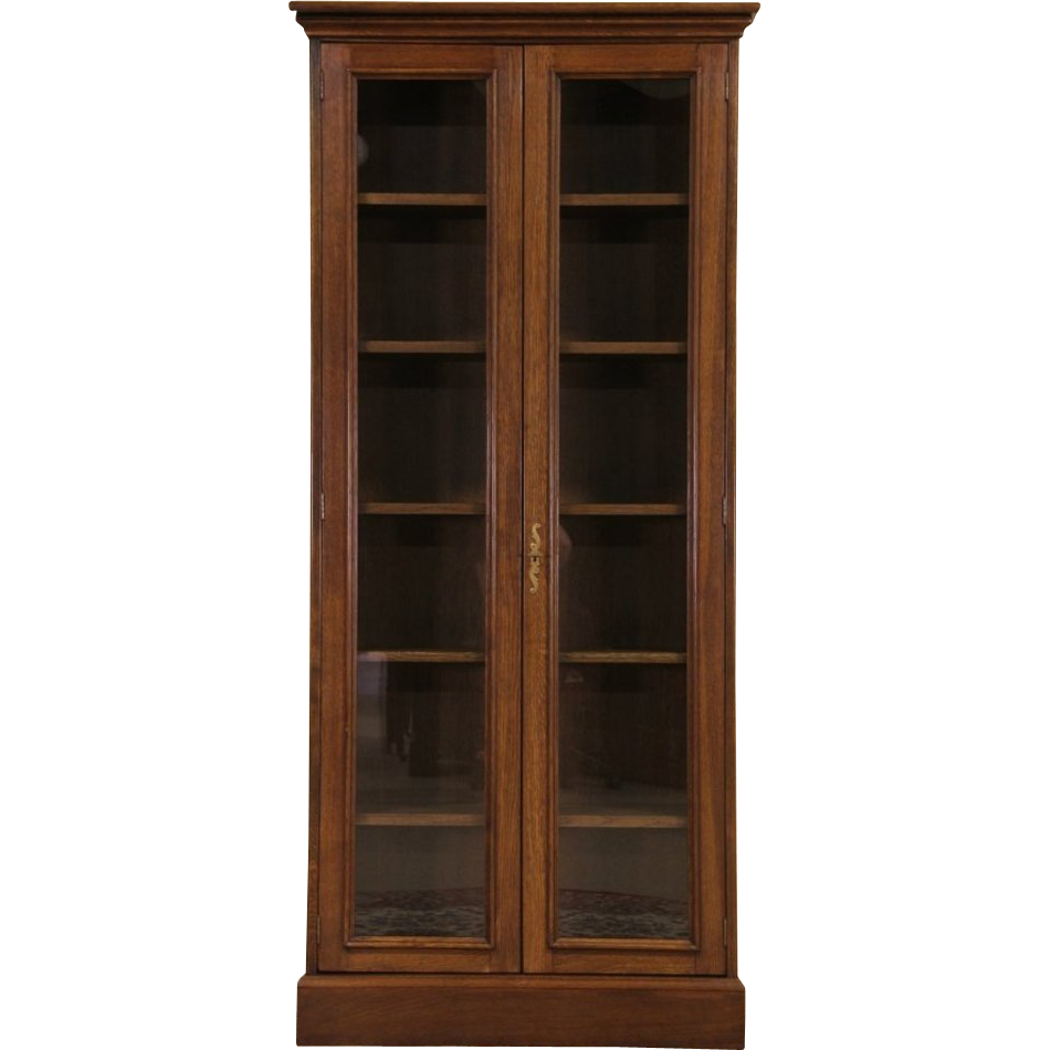 French Oak Vintage Tall Bookcase Or Display Cabinet Glass Doors