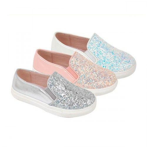17149b59 Sneakers sin cordones y con mucho glitter para niñas de Bubble Bobble.