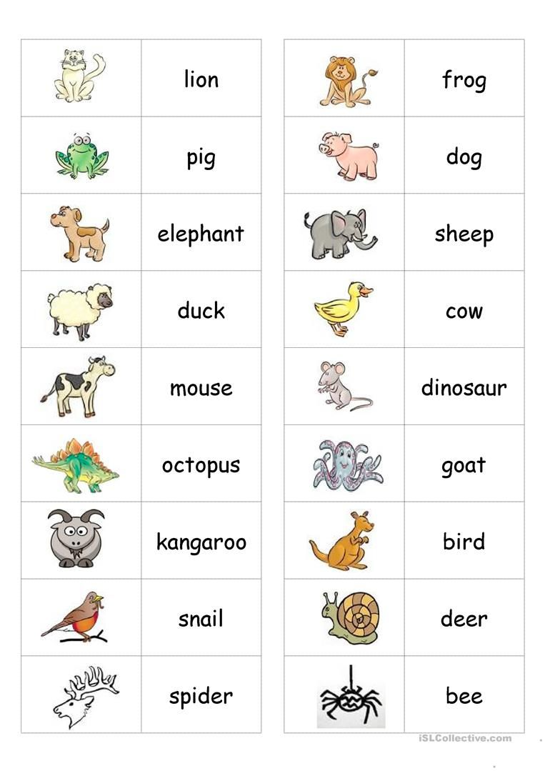 Animal Dominoes worksheet - Free ESL printable worksheets made by teachers