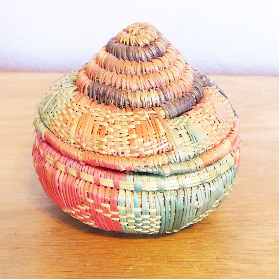 woven basket with lid. Vintage Small Colorful Woven Basket With Pointed Lid - Coil Grass Pink