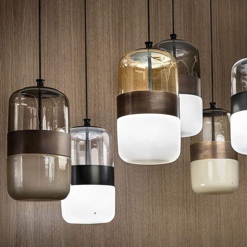 Lampe Suspension Contemporaine En Verre Souffle En Metal