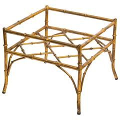 Italian Gilt Metal Faux Bamboo Side Table