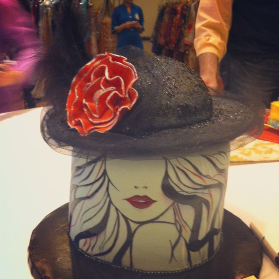Fashionista cake - minus the tulle on the hat, everything is edible!