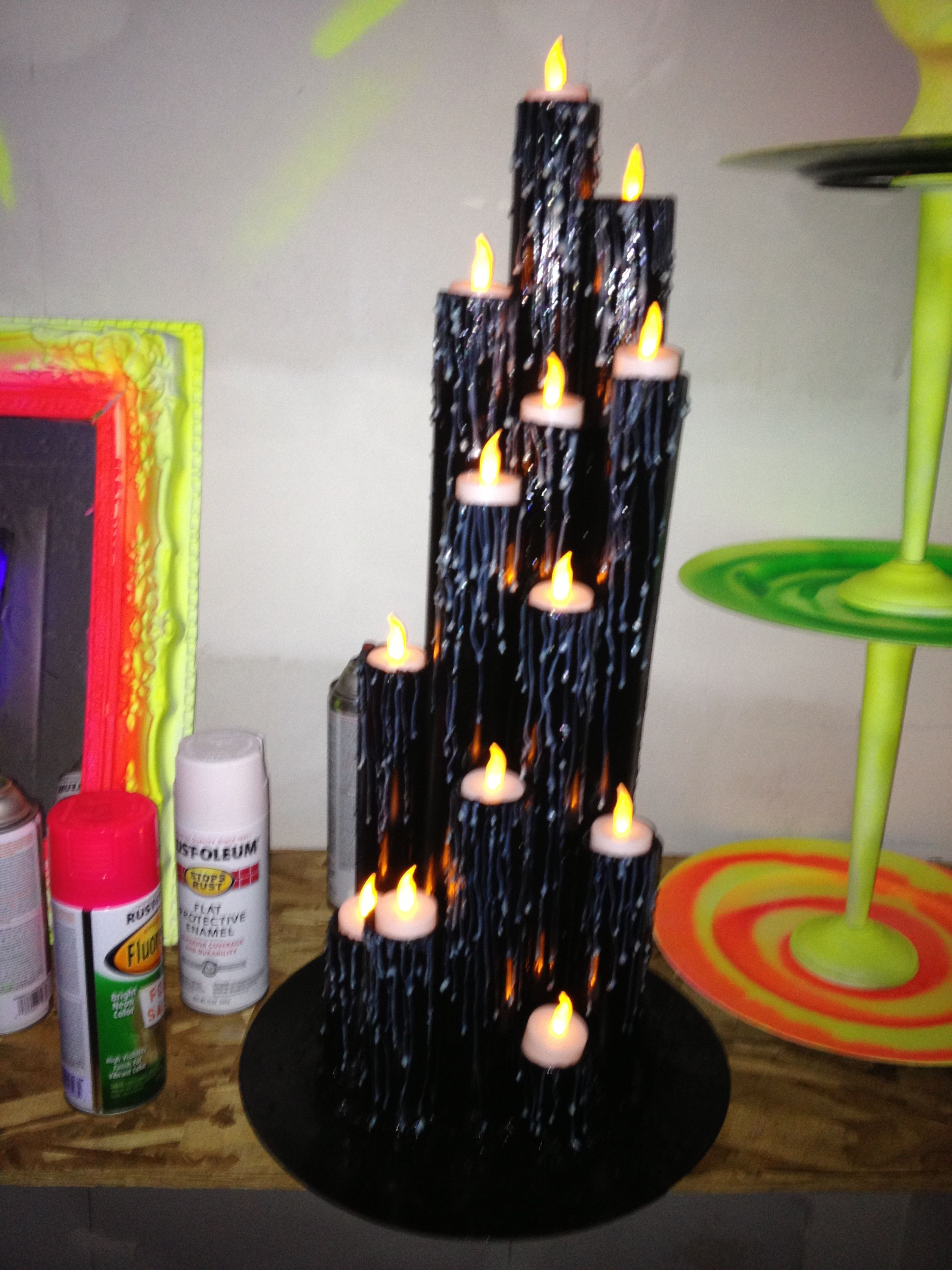 Glow In The Dark Candle Tier Pvc Pipe, Black Paint,