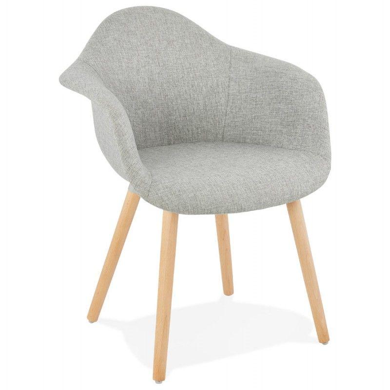 Chaise Design Scandinave Avec Accoudoirs Ophelie En Tissu Gris Clair Fauteuil Design Confortable Chaise Design Chaise Style Scandinave