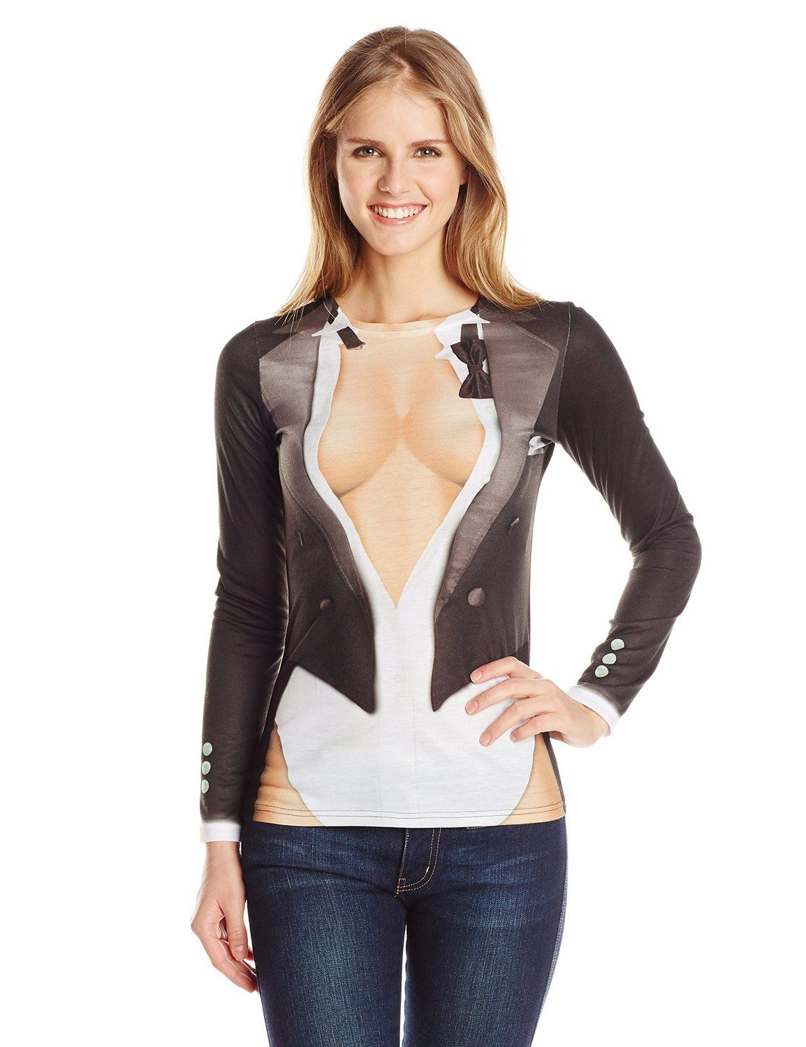 230544b6a Amazon.com: Faux Real Women's Cleavage Tux Long Sleeve T-Shirt: Clothing
