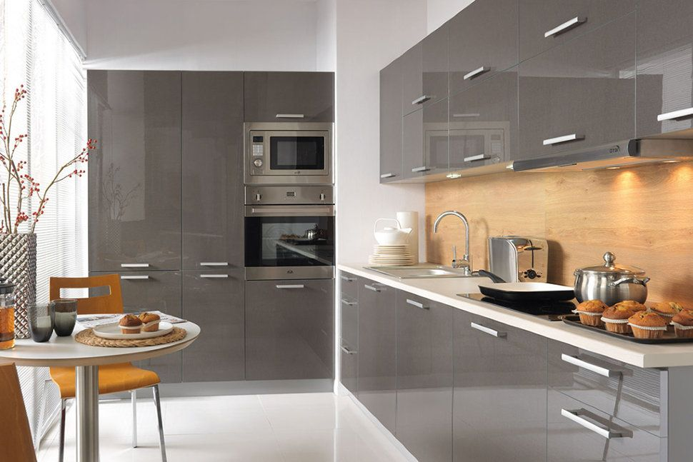 Beautiful FAMILY LINE Tapo Plus Kitchen Graphite Gloss Complete Kitchen Unit Of 16  Elements For Area 7.5