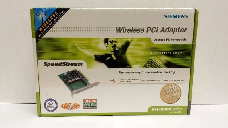 SIEMENS SpeedStream Wireless PCI Adapter Network Card Model SS1023 PCMIA Slot  #SIEMENS