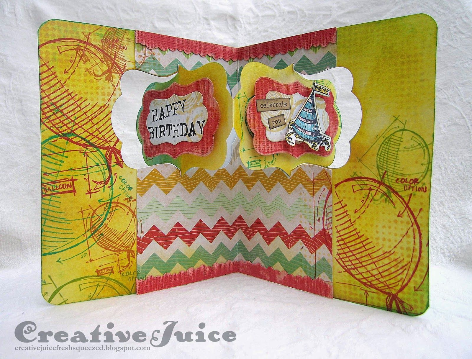 Creative Juice: Happy Birthday Katie!!  (Karen Burniston's Katie Label Pivot Card die)