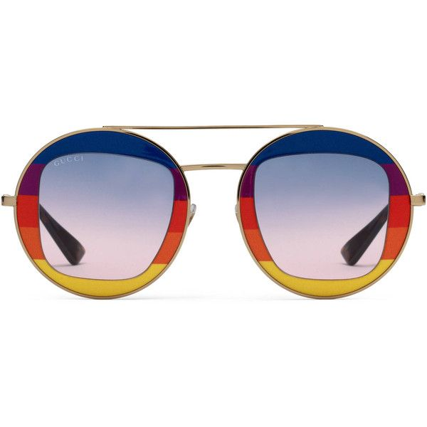 98f558e623d Gucci Round-Frame Metal Sunglasses ( 540) ❤ liked on Polyvore featuring  accessories