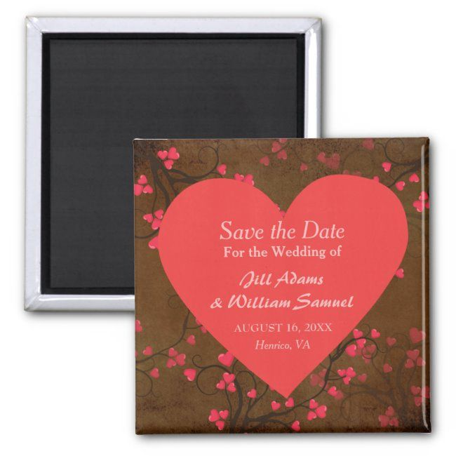 Red heart Save the Date Magnet