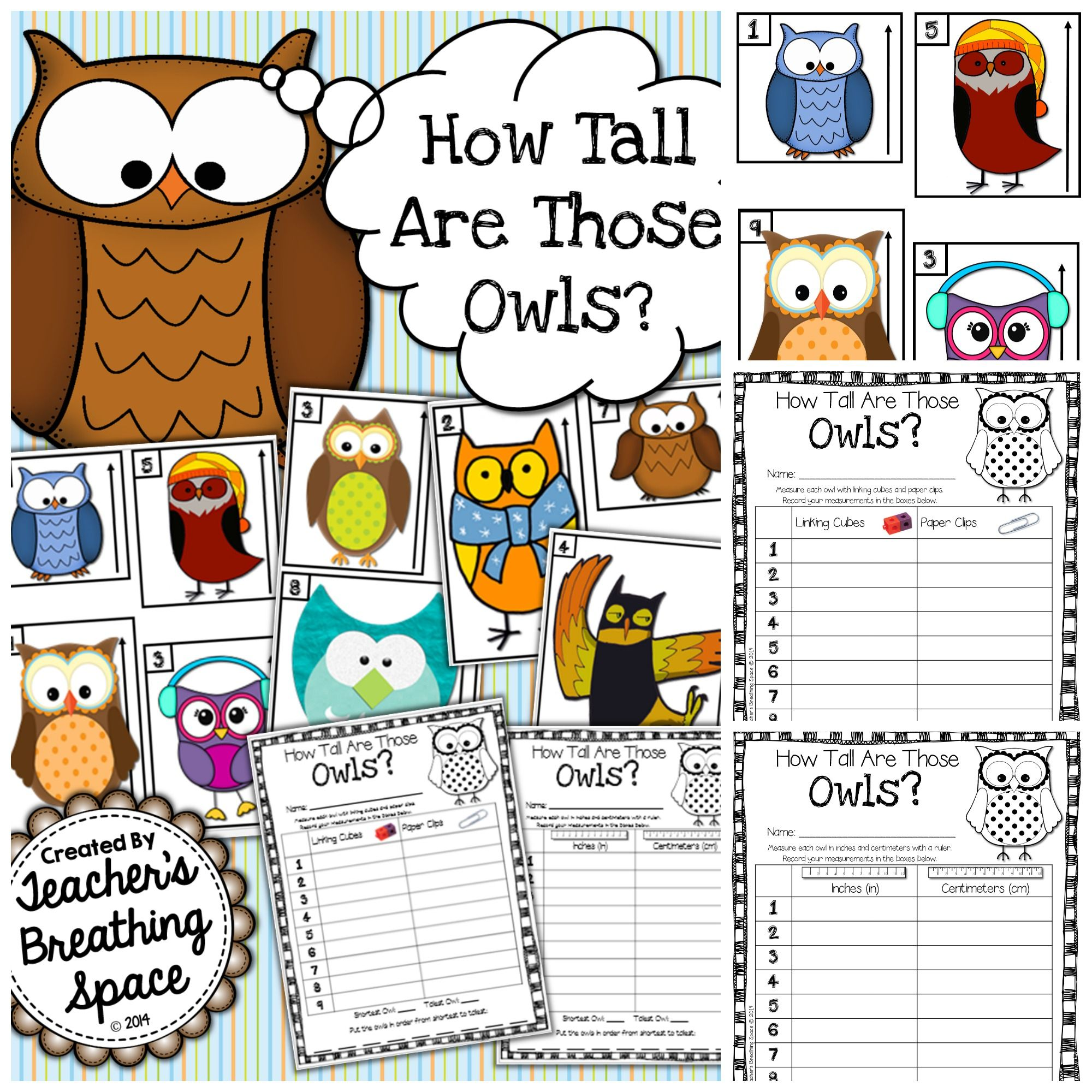 Owl Measuring Math Game How Tall Are Those Owls Fall Math Center