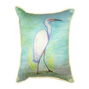 Betsy Drake Interiors Betsy Drake Interiors HJ025 Coastal Snowy Egret  Decorative Pillow Decorative Pillows