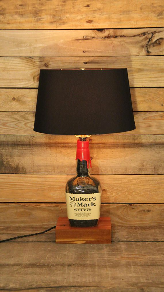 Makers mark whisky bottle table lamp bourbon barrel char filled makers mark whisky bottle table lamp bourbon barrel char filled lamp reclaimed wood base makers mark pre made ships immediately aloadofball Choice Image