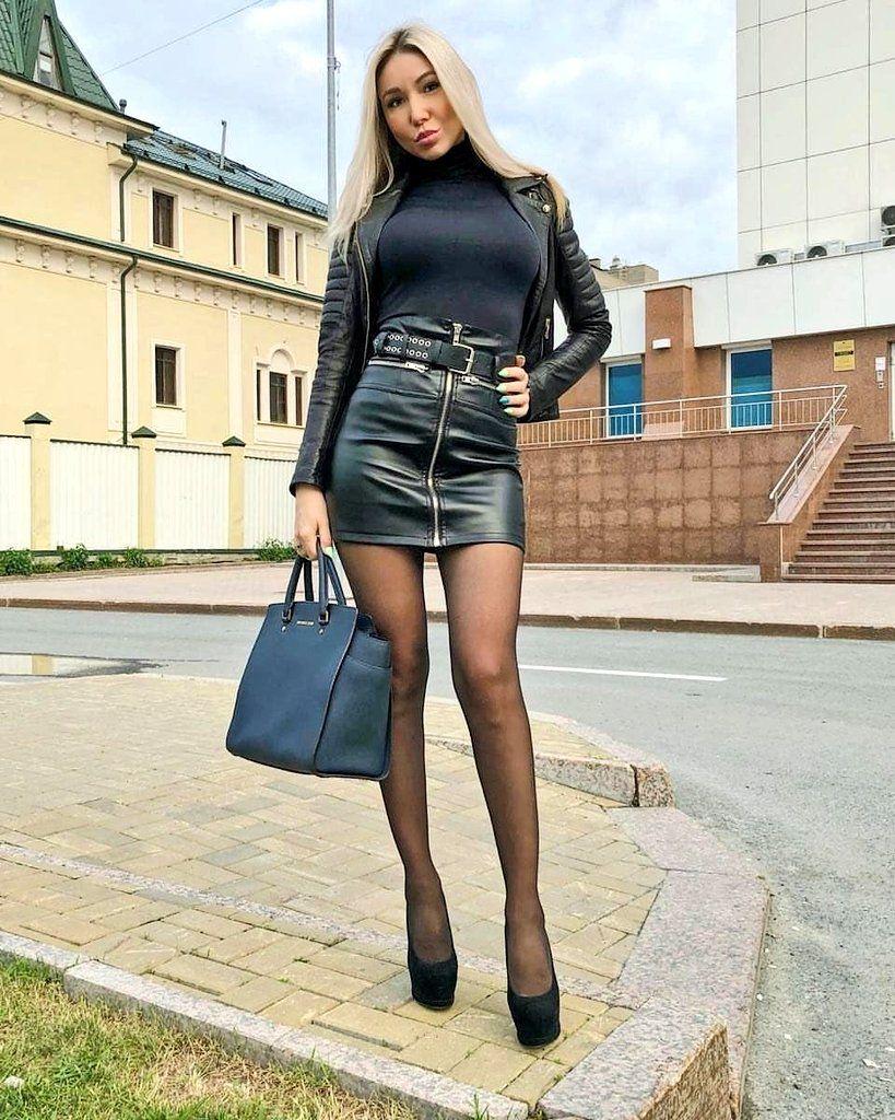 leather mini skirt heels