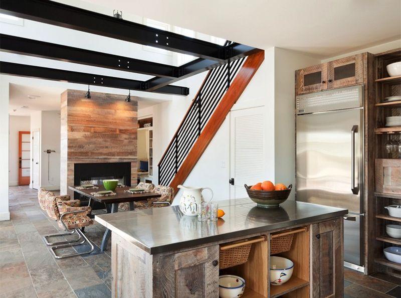 Drewno Z Odzysku Z Kuchni Fronty Ze Starego Drewna Reclaimed Wood Kitchen Island Reclaimed Wood Kitchen Contemporary Kitchen