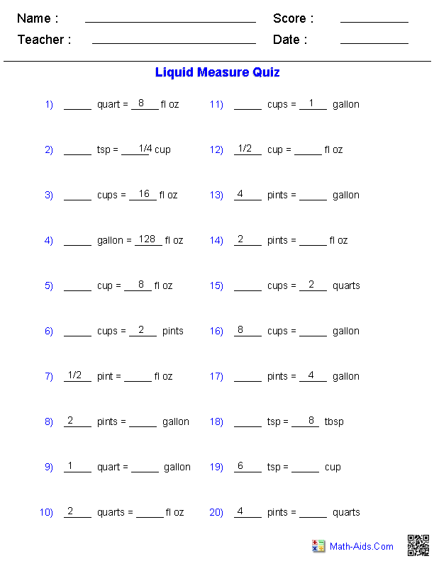 Liquid Measure Conversion Quiz Worksheets | Educational ...