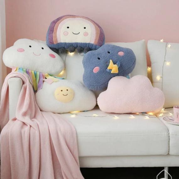 Cute Cloud Plush Pillow, Kawaii Weather Rainbow Cloud Stuffed Soft Toy, Thunder Cloud throw pillow cushion loft hygge nursery home decor