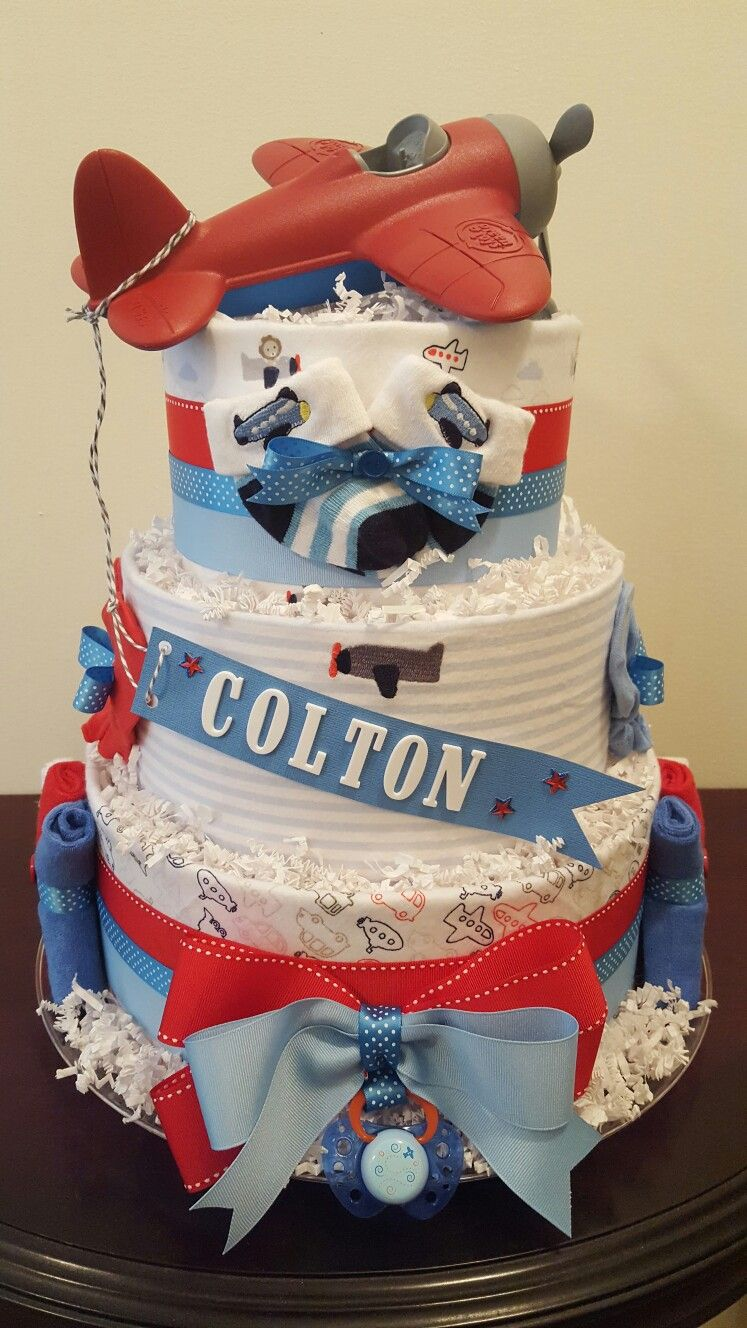 Airplane themed diaper cake Airplane baby shower centerpiece gift