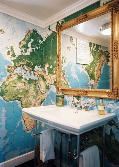 Pin by jessica landers on for sam pinterest gold framed mirror would love a map on the wall beside the bath map wallpaper in the bathroom learn world geography while youush your teeth gumiabroncs Images