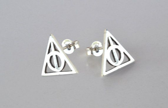 Harry Potter Earrings Deathly Hallows Earrings Post Stud Earrings
