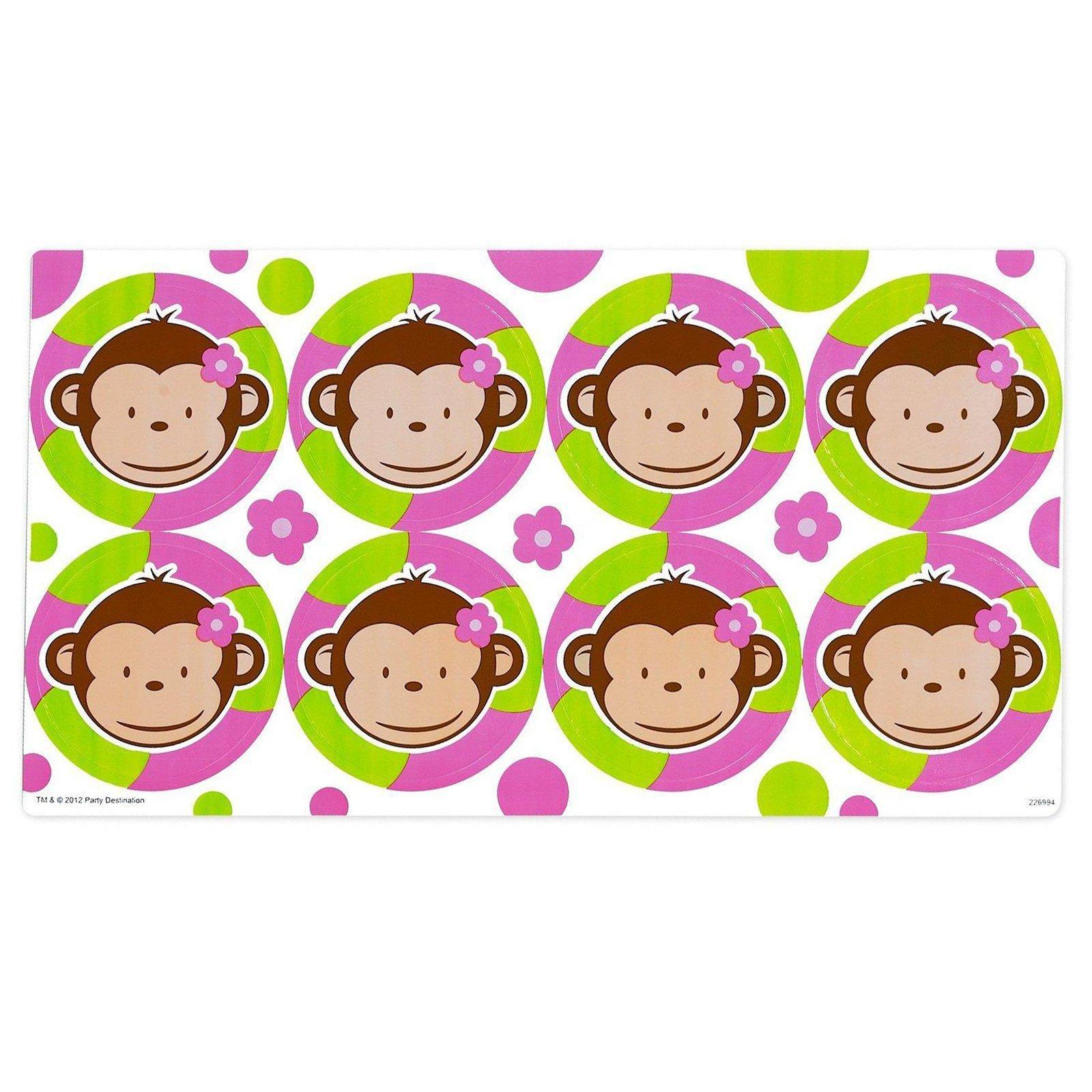 Pink Mod Monkey Large Lollipop Sticker Sheet from BirthdayExpress.com