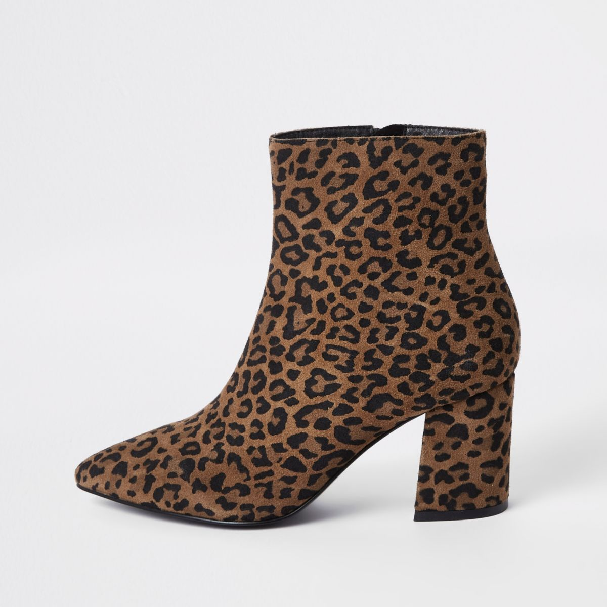 Brown wide fit leopard print ankle